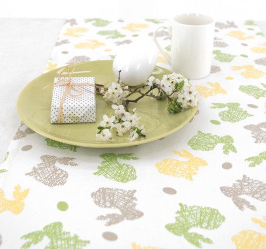 Bijela uskršnja traka za stol, za restorane ili dom.
