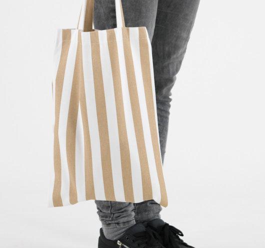 Platnena vrećica s bež prugama