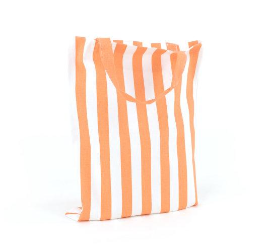 Prugasta narančasto-bijela platnena vrećica.