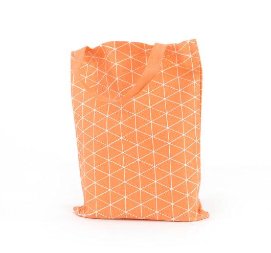 Platnena vrećica narančaste boje s modnim uzorkom trokutića.