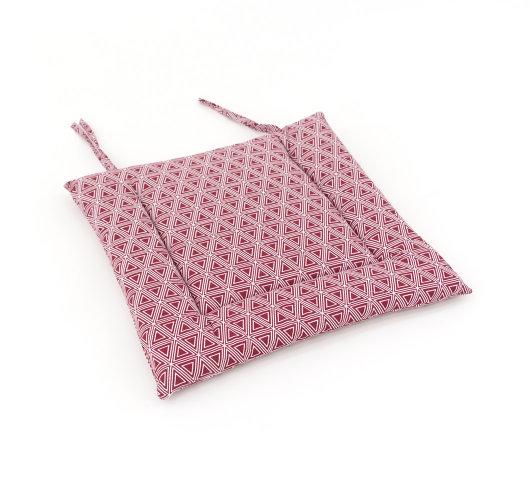 Jastučić za stolice bordo boje s dezenom trokuta