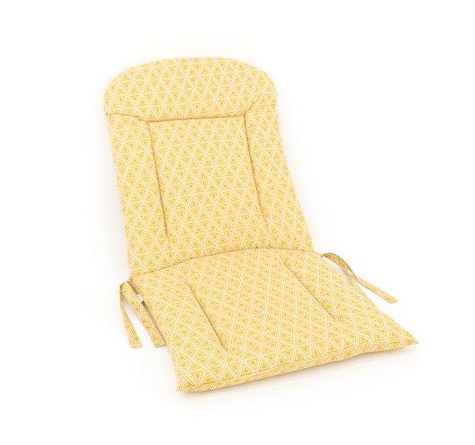 dvodijelni jastuk za vrtnu garnituru žute boje s bijelim trokutima