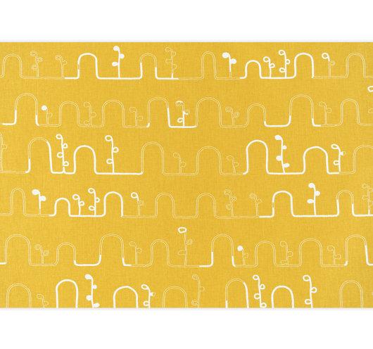 Tekstilna metraža žute boje s bijelim cijevastim uzorkom