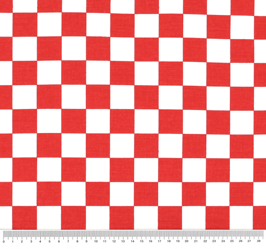 Tkanina na crveno bijele kockice.