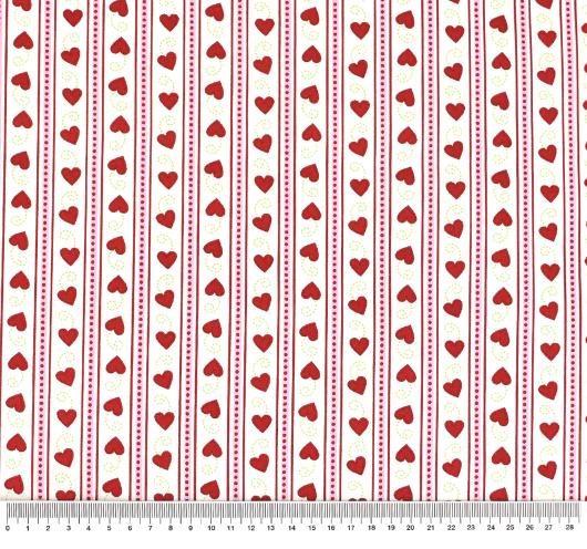 Tkanina s motivima za Valentinovo.