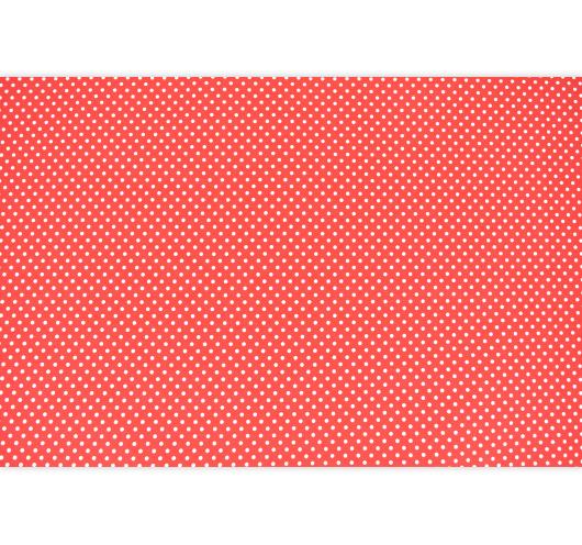 Crvena tkanina s bijelim točkama.