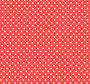 Crvena tkanina s bijelim točkicama.