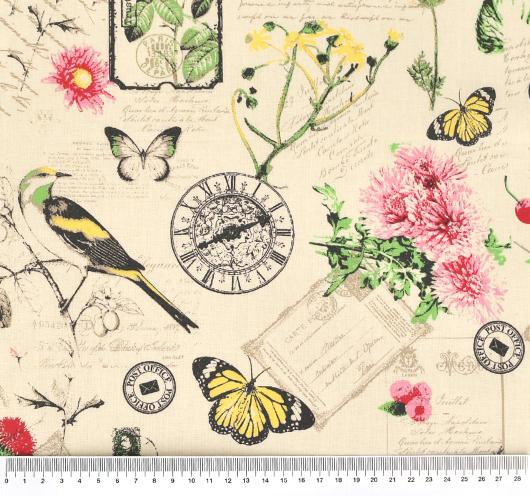 Bež tkanina s cvjetnim motivima.