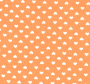 Narančasta tkanina s dezenom bež srca.