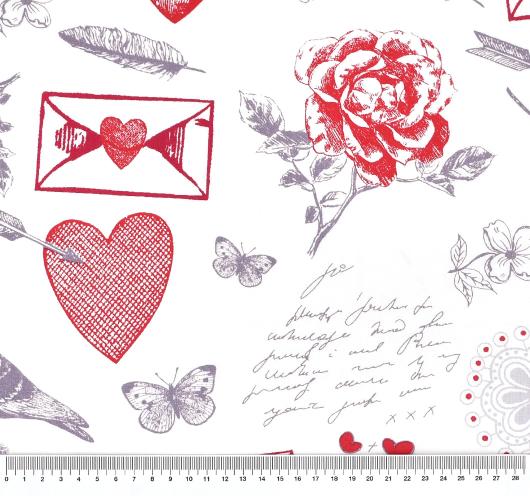 Tkanina s ljubavnim motivima za Valentinovo.
