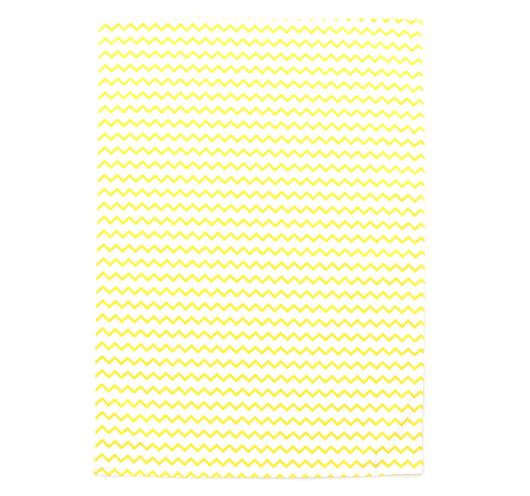 Kuhinjska krpa žuto-bijelog cik-cak dezena.