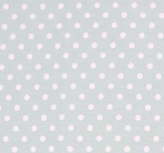 Siva tkanina s ružičastim točkicama.