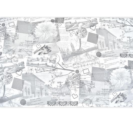 Sivkasta dekorativna tkanina s tiskanimmotivima Čakovca i Međimurja