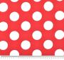 Uzorak crvene tkanine s tiskanim bijelim krugovima.