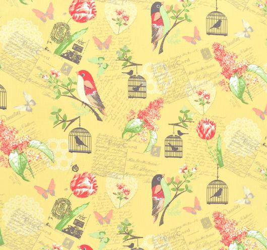 Žuta tkanina s kanarincima i krletkama.