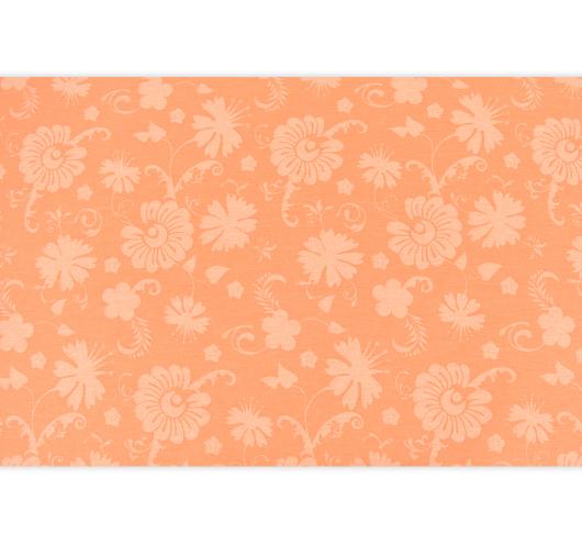 Narančasta tkanina sa stiliziranim cvjetovima.