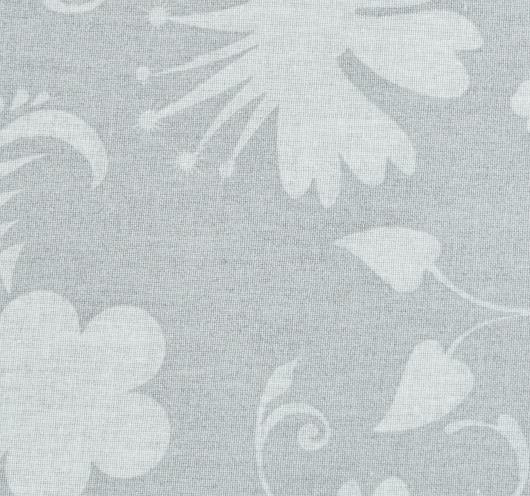 Siva tkanina sa stiliziranim cvjetovima.