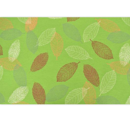 Zelena tkanina s kanarincima i krletkama.